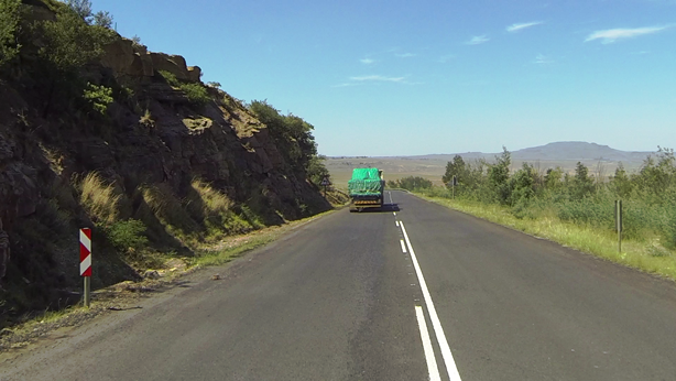 Slow moving trucks on the Barkly Pass