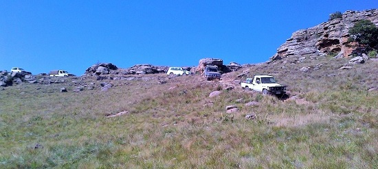 Toyota Land Cruisers descending the pass