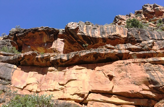 Weathered sandstone formations on the pass