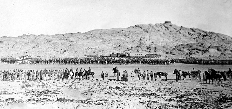 General Botha inspecting troops in Luderitz, German South-West Africa (now Namibia)