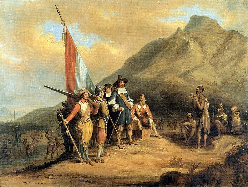 Van Riebeeck landing at the Cape (painting by Charles Bell)