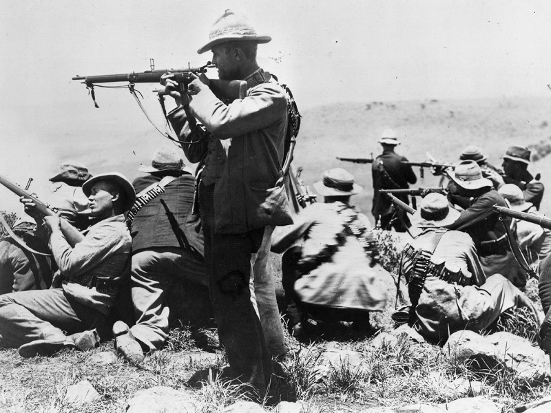 Boer troops in action during the Siege of Ladysmith in Natal