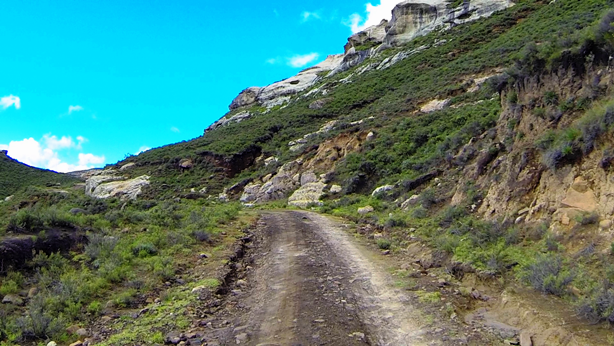 Sandstone outcrops near the summit