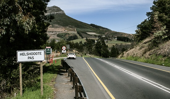 Summit of the helshoogte Pass at Tokara wine estate