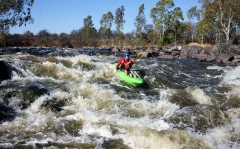 Shooting the rapids on the Vaal River
