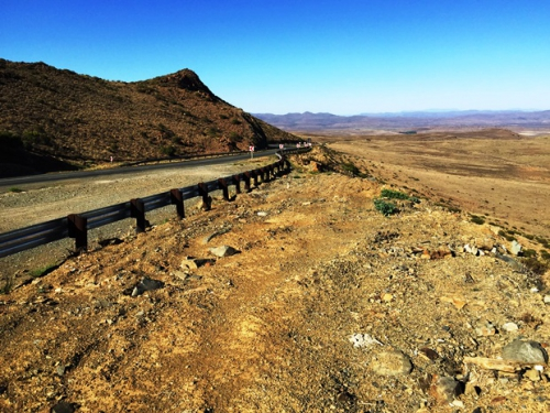 Looking south-west from the summit over the achingly dry Karoo plains