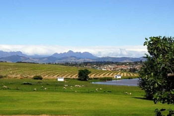 The Meerendal Wine Estate is near the eastern side of the pass