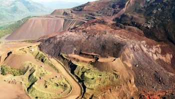 Open cast iron ore mine near the pass