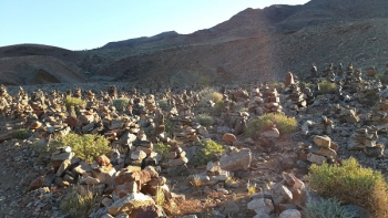 Thousands upon thousands of stone cairns in the Helskloof