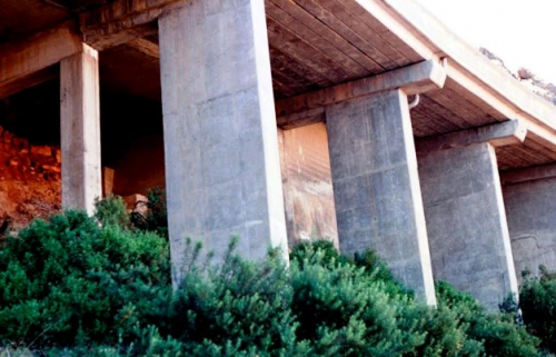 Under a small section of the cantilevered roadway