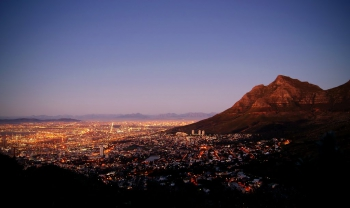 Looking across the city centre from Signal Hill Road at dusk